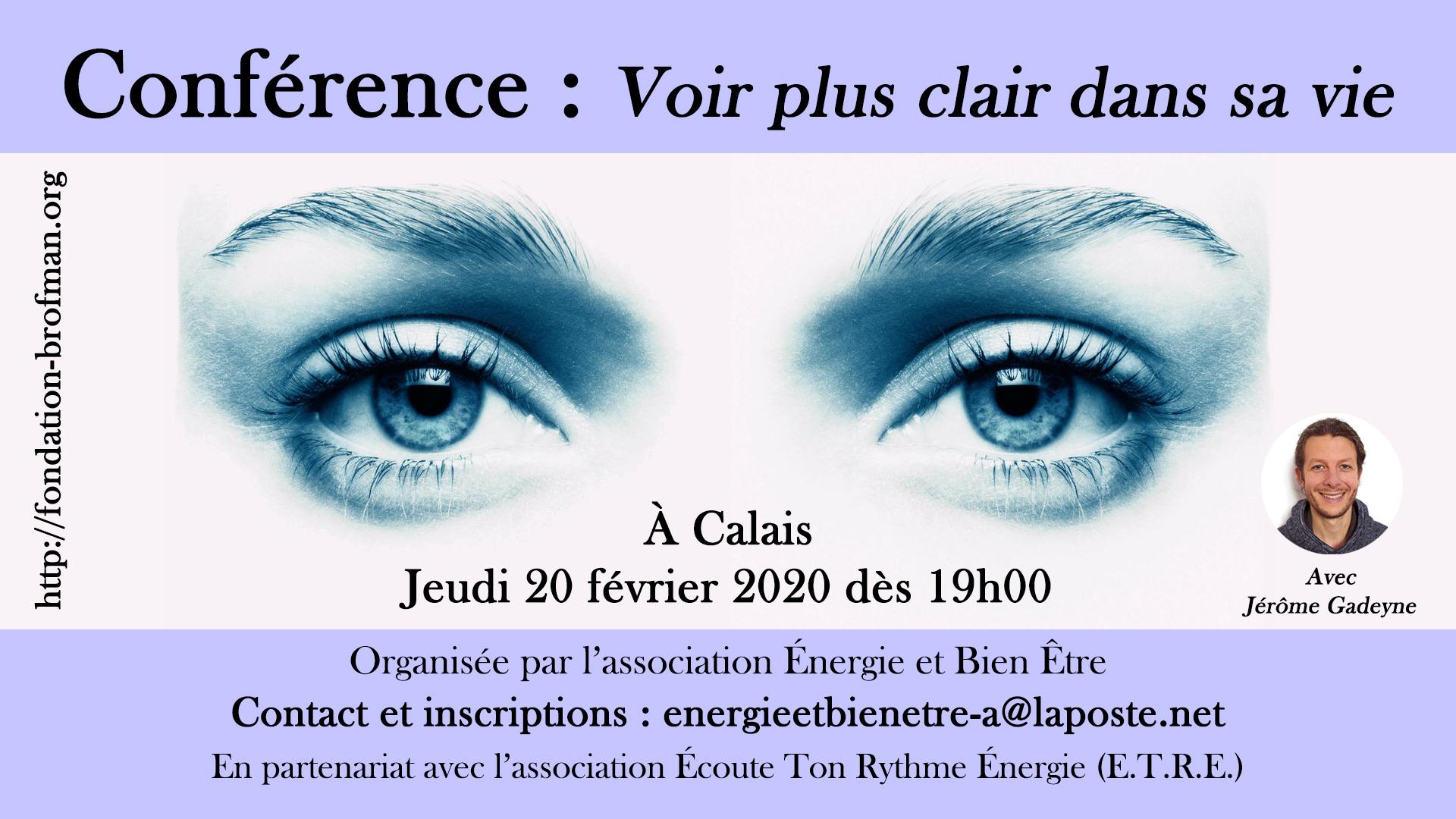 Conf Voir plus clair dans sa vie - Calais