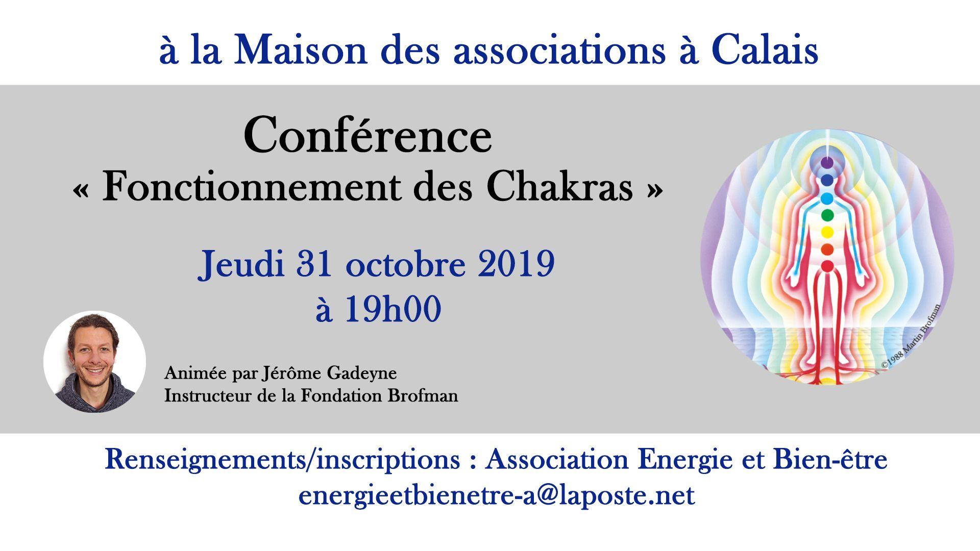 Conf chakras Calais 31 octobre 2019